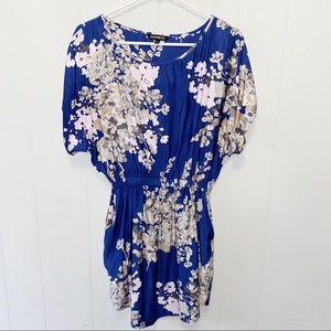 Express Blue Floral Cinched Waist Satin Dress
